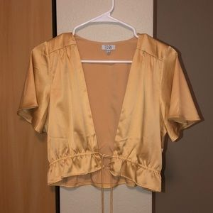 Yellow silk crop top, low v neck with slit
